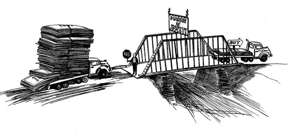 Illustratie van veilig beleggen: truck met geldbiljetten die over een brug rijdt.