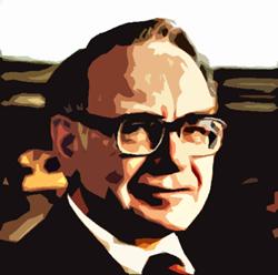 Een bebrilde Buffett kijkt recht in de camera.