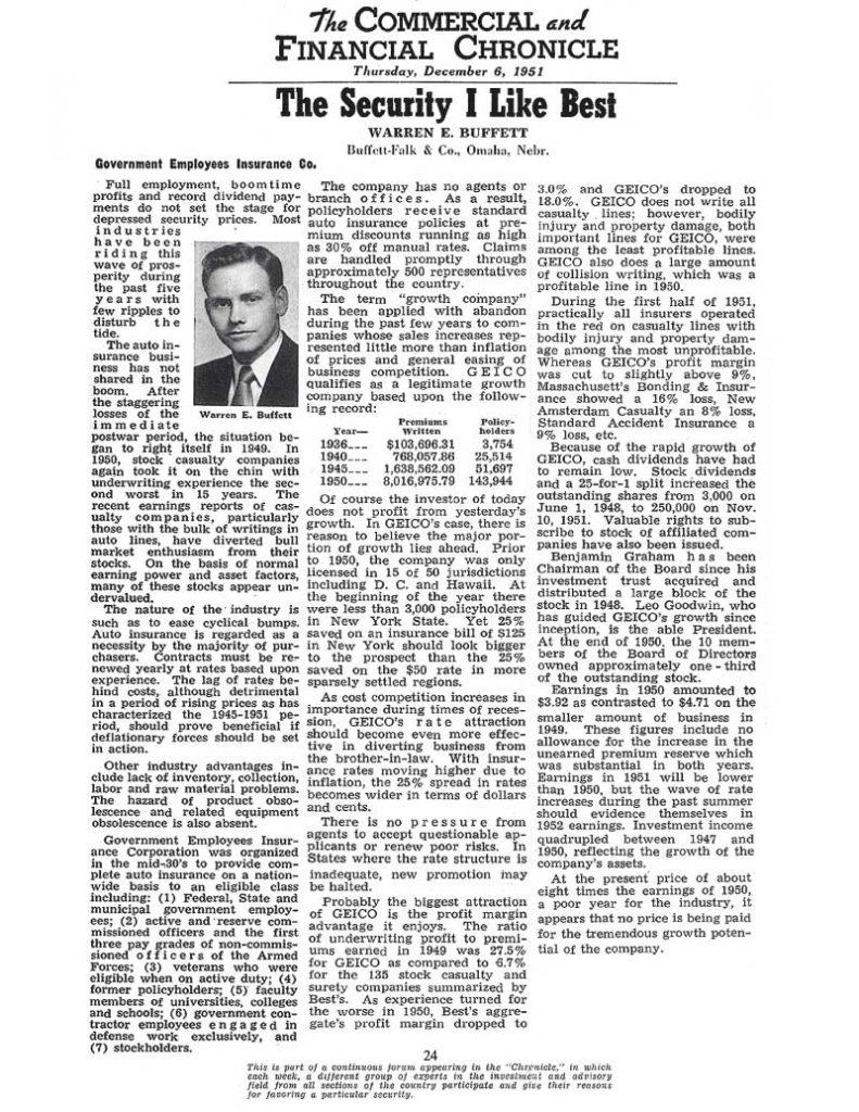 Artikel geschreven door Buffett over zijn voorliefde voor bepaalde aandelen.